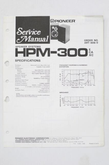 pioneer hpm300 original speaker system service manual/guide