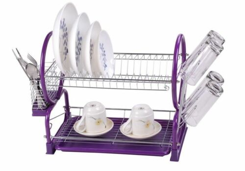 2 tier dish drainer rack drip tray sink dryer storage draining plate bowl purple