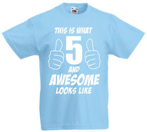 5 And Awesome 5th Birthday Gift T Shirt For 5 Year Old Boys Gift Ideas Ebay