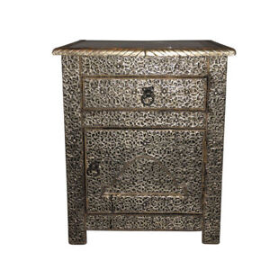 details about moroccan drawer nightstand end table silver etched metal arabesque furniture