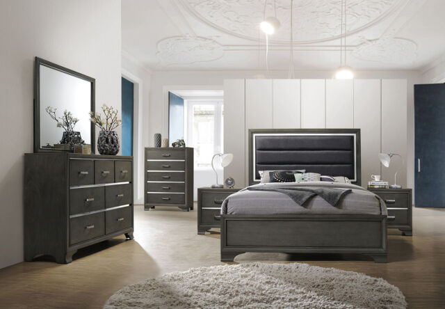 kings brand furniture gray with faux leather headboard king size bedroom set