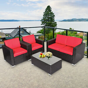 details about 4pc outdoor rattan sofa set sectional cushioned couch garden patio furniture