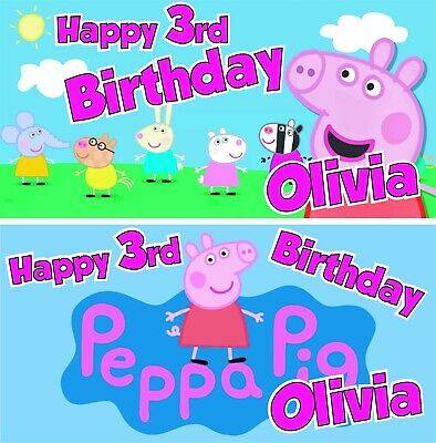 Extra Large Peppa Pig Personalised Birthday Banner Kids Poster Decoration L K Ebay