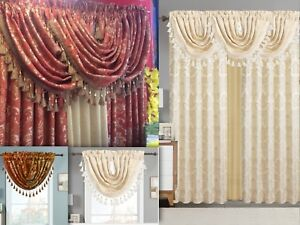 details about empire home traditional jacquard olivia window curtain panel valance drapery