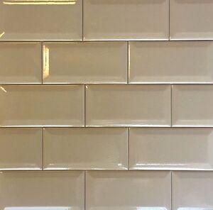 details about 3x6 light brown crackled beveled subway ceramic tile backsplash decor kitchen