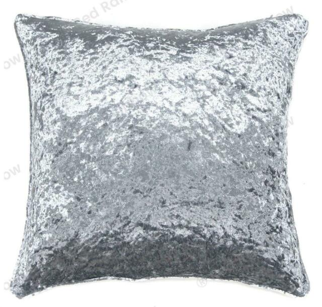 6 pack silver crushed velvet large 22 55cm cushion cover piped