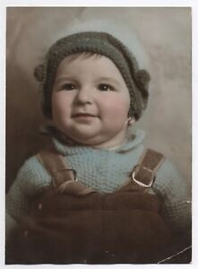 details sur photo ancienne tirage rehausse peint colorise vers 1940 portrait enfant bonnet