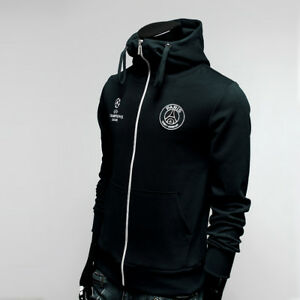 details zu paris saint germain hoodie full zip turtleneck hoody soccer jacket black psg