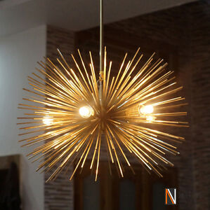 Image Is Loading Mid Century 5 Bulbs Gold Brass Sphere Urchin