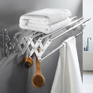 details about wall mount expandable towel rack bathroom foldable stainless steel clothes shelf
