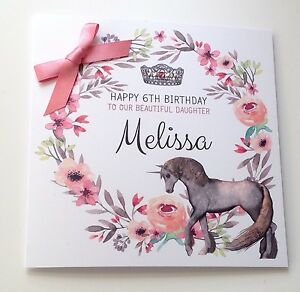 Personalised Unicorn Birthday Card Daughter 7 8th 9th 10th