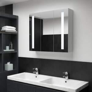 Vidaxl Armoire De Salle De Bain A Miroir Led 89x14x62 Cm Mural Rangement Ebay