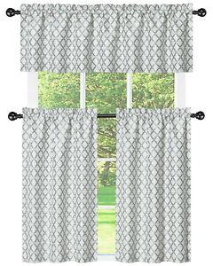 details about kate aurora white gray moroccan geometric kitchen curtain tier valance set