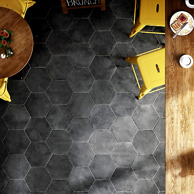 pietro charcoal black hexagon porcelain wall floor indoor outdoor tiles ebay