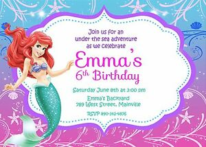 details about little mermaid princess ariel birthday party invitation