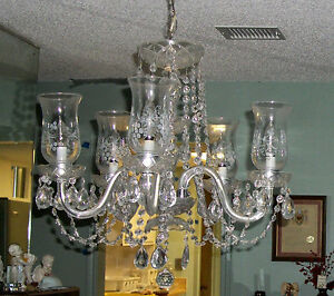 Image Is Loading Etched Hurricane Shade Electric Crystal 5 Arm Chandelier