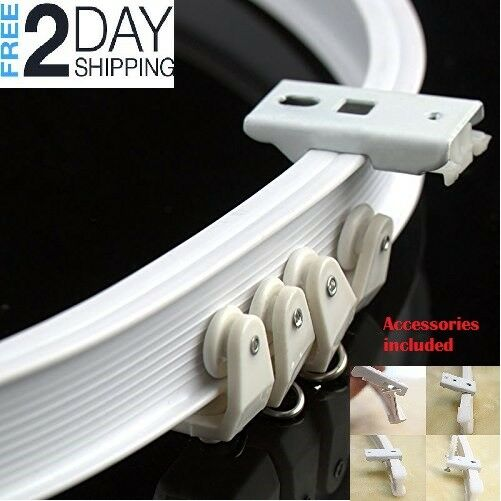 curtain track rail bendable straight curve hanging ceiling mount shower window