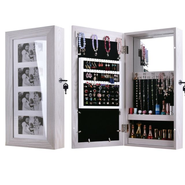 Wall Mounted Jewelry Storage Cabinet Mirrored Armoire Makeup Organizer Wood Box 12