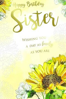 Sister Bright Sunflower Flowers Design Happy Birthday With A Lovely Verse Card Ebay