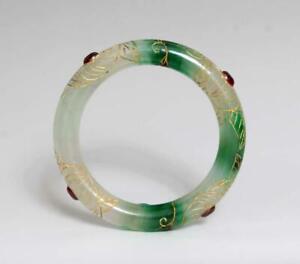 Chinese Natural Green Jadeite Jade Gilding Bangle Bracelet 60MM