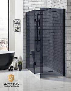 Black Glass Walk In Shower Enclosure Wet Room Screen 275mm Flipper Glass Panel Ebay