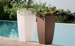 details sur grand pot de fleurs carre haut en resine moderne cache pot 39x39xh90 cm jardin