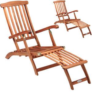 details sur 2x chaises longues en bois queen mary transat bain de soleil jardin siege relax