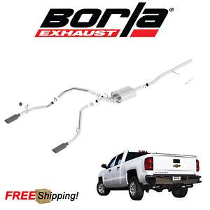 details about borla atak cat back performance dual exhaust 14 18 silverado 1500 5 3l v8 4dr