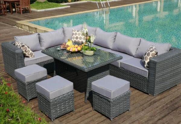 Papaver Range 9 Seater Rattan Corner Sofa & Dining Set