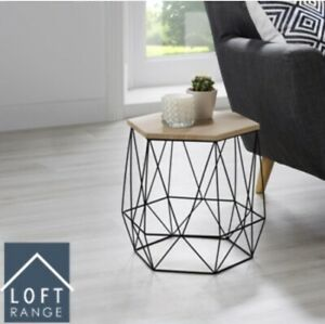 details about new elegant loft range hexagon wire side table wood top coffee side table