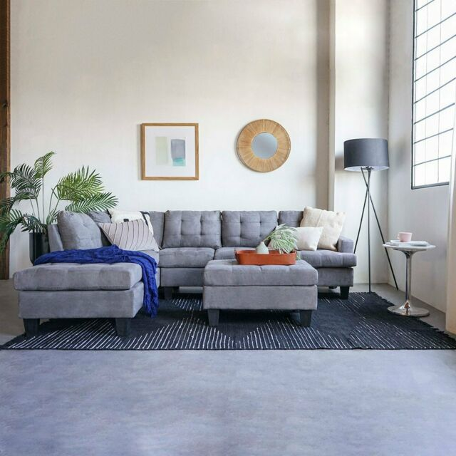 3 piece sofa modern tufted grey reversible l shape sectional couch with ottoman