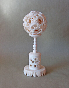 Chinese Carved Puzzle Ball with Stand ... Dragon