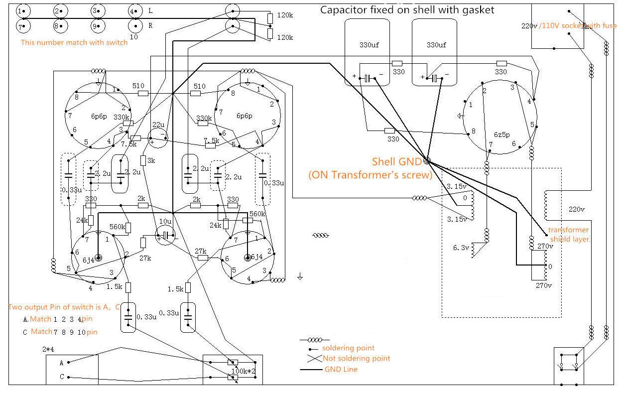 6j4 6p6p Vacuum Tube Pre Amplifier Stereo Hifi Preamp Diy