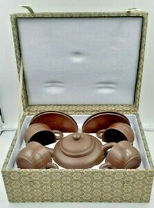Chinese Yixing Zisha Clay Handmade Teapot and Teacups w/Saucers Box Set - Marked