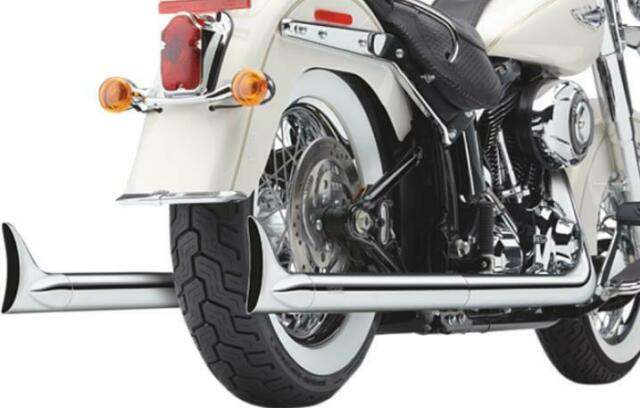 cobra 6987 softail dual exhaust system with fishtail tips