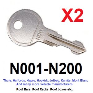 details about 2 x thule roof bar roof box roof rack keys to code n001 to n200