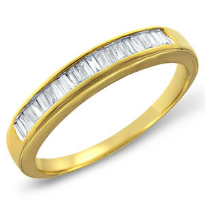 Womens 10K Gold 030 CTW Baguette Diamond Channel Wedding