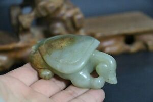 Antique Old Chinese Celadon Nephrite Jade Carved Statues Toggle TORTOISE