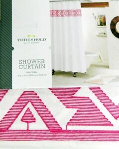 details about new target threshold shower curtain white pink tribal white embroidered 72 x72