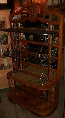 large ornate carved wood wrought iron marble brass mirrored back bakers rack ebay