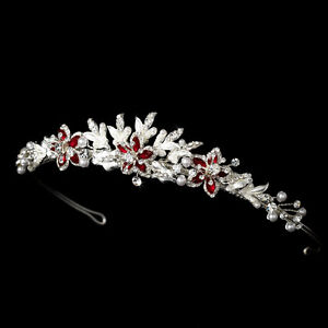 silver red gold ivory black royal blue floral crystal pearl prom bridal tiara ebay