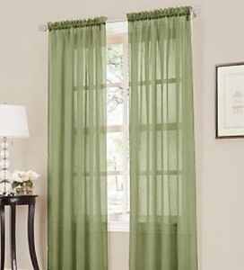 2 Panel SAGE GREEN OLIVE Sheer Voile Window Treatment Curtain Drape 55 W X 95L EBay