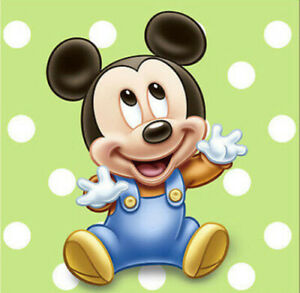 Baby Mickey Mouse 1st Birthday Paper Beverage Napkins First Party Supplies 16pc Ebay