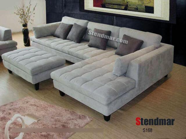 3pc modern white microfiber sectional sofa s168lw
