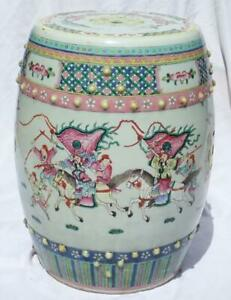 Antique Chinese 19th C. Warriors Horses Boys Porcelain Garden Seat Stool Qing