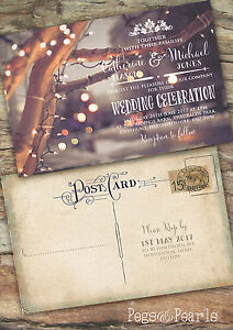 Details About Personalised Photo Christmas Vintage Postcard Wedding Invitations Packs Of 10