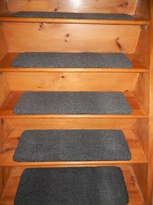 Peel And Stick Flexible Vinyl Rubber Outdoor Indoor Stair Treads   Stick On Carpet Stair Treads   Bc Canada Treads   Replacement   Stain Resistant   Carpet Classic   Dark Grey Grey