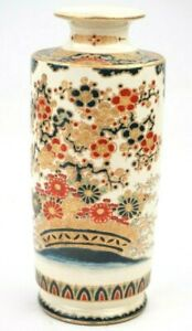 Antique Japanese Imperial Satsuma Gosu Blue Signed Vase 7 3/4 Inches Height
