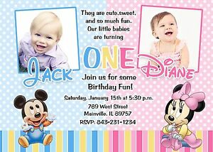 details about first birthday mickey minnie twins baby birthday party invitation