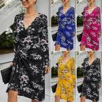 Womens Floral V Neck Holiday Midi Dress Ladies Long Sleeve Party Beach Dresses